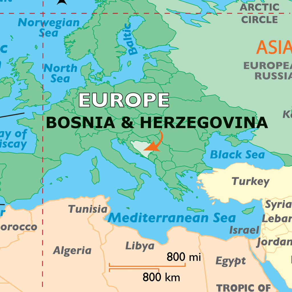 Location of the country Bosnia