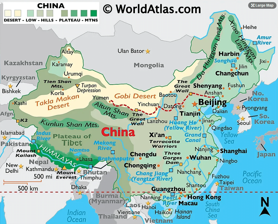 Map of the location of China